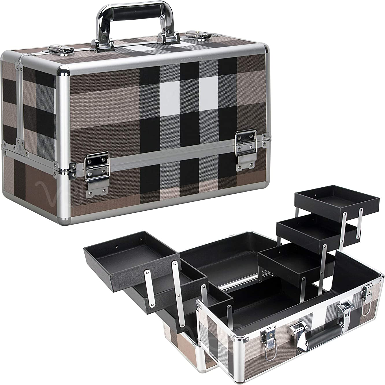 Ver Beauty DVP001-612 6-Tiers Accordion Trays Art Craft Supplies Storage Portable Box Case Organizer Travel-VP001, Brown Stripe