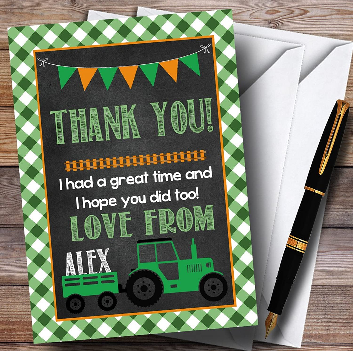 Green Country Farm Tractor Party Thank You Cards