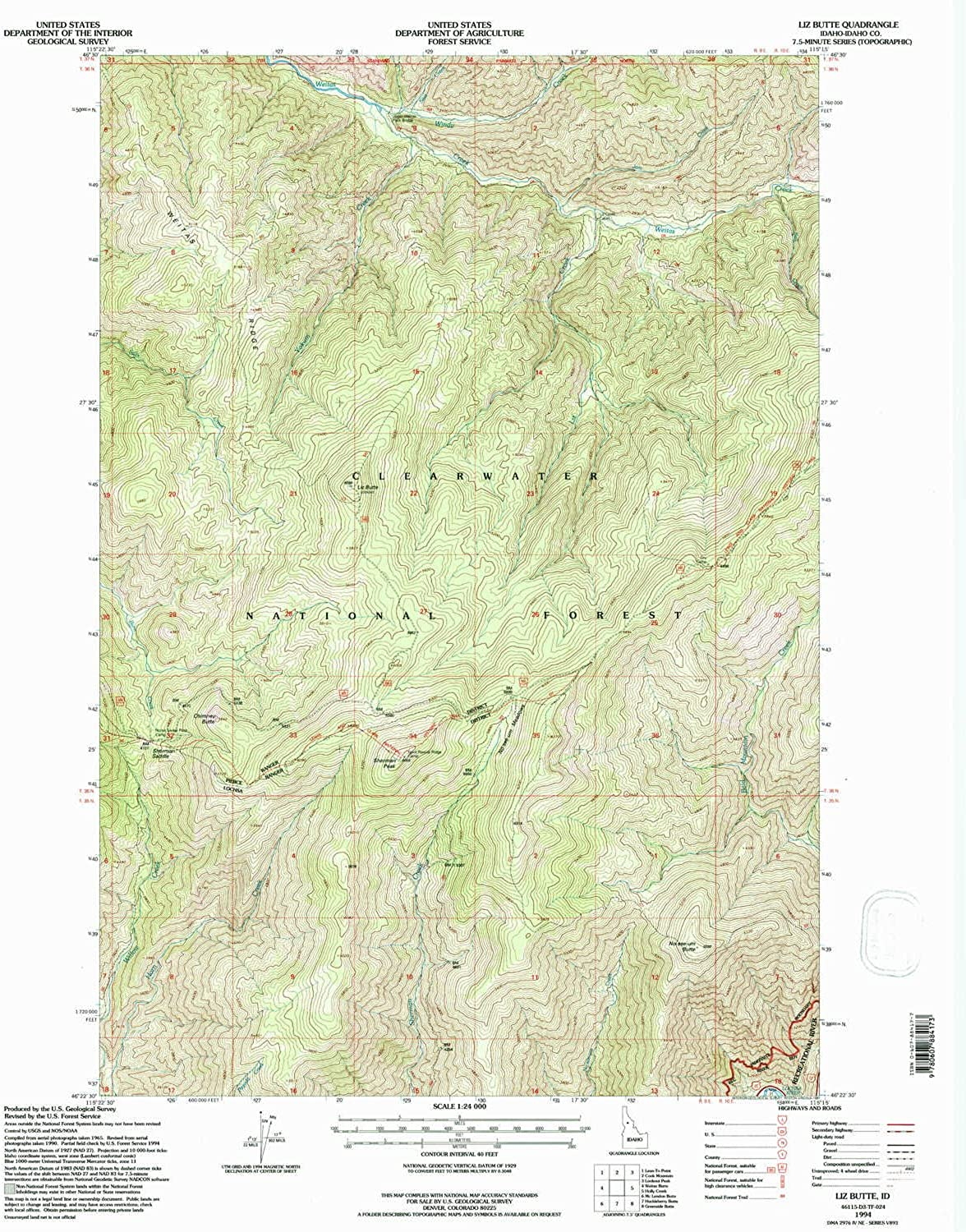 Liz Butte ID topo map, 1 24000 Scale, 7.5 X 7.5 Minute, Historical, 1994, Updated 1997, 27.1 x 22.1 in