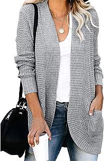 GFBVC Cárdigan De Mujer Las Mujeres del suéter de otoño/Invierno Europeo y Americano de Color sólido con los Bolsillos Loo...