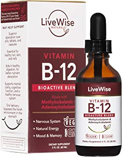 Liquid B12 Vitamin Sublingual – All-Natural Liquid Vitamin Vegan B12 Drops – Non-GMO Adenosylcobalamin Methylcobalamin B12...