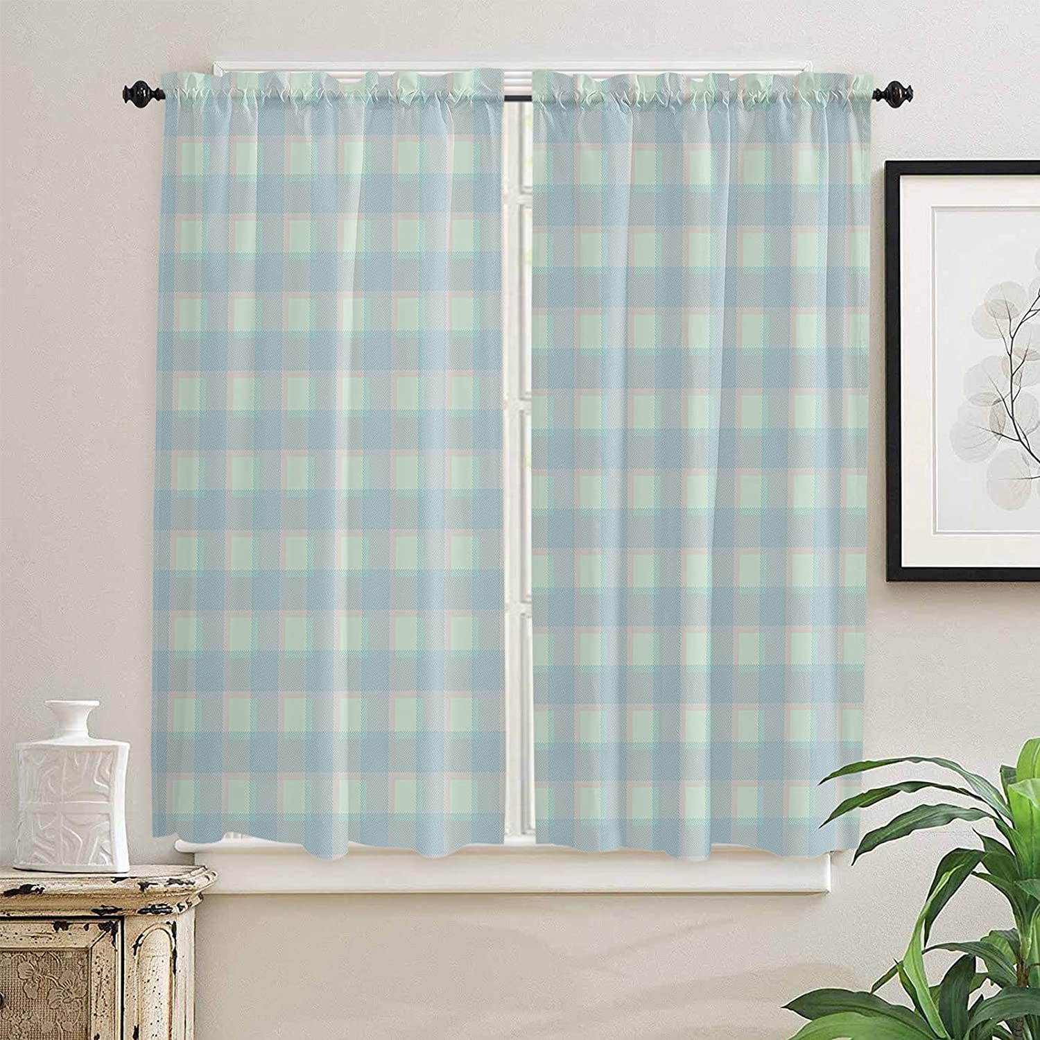 Blue Concise Simple Animer and price revision and Elegant Buffalo 6 Ranking TOP2 Kitchen Plaid Curtains
