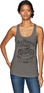 Gas Monkey Garage Women's Biker Babe Dudes Rods Tattoos Racerback Tank Top