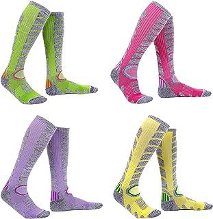 Ski Socks Women – 1/4 Pack Warm Skiing Calf Socks High Performance Winter Sport Socks