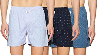 Longies Men's Regular Printed Boxer Shorts (LGBOXPO3V001_Navy,Lightblue,Seablue_L)