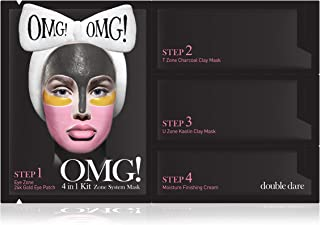 double dare OMG! 4in1 Kit Zone System Mask - Rejuvenating and Refreshing with 24k Gold, Charcoal and Kaolin Clay (1 Sheet)