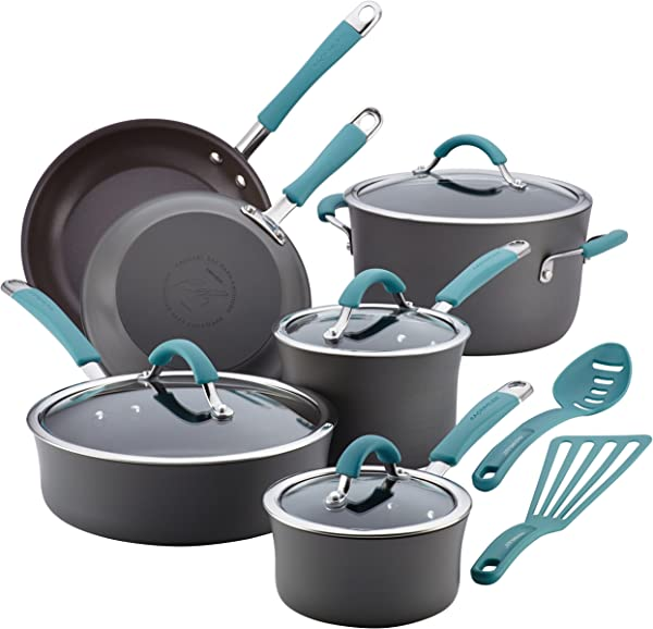Rachael Ray Cucina Hard Anodized Aluminum Nonstick Pots And Pans Cookware Set 12 Piece Gray Agave Blue Handles