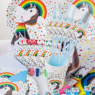 Unicorn Theme Birthday Party Set of 90 Pieces, Birthday Decoration, Unicorn Cups, Unicorn Napkins, Unicorn Table Cover, Un...