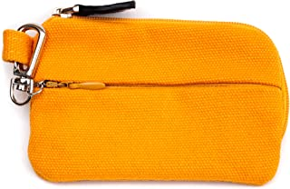 On The Go - Card and Coin Pouch, 2 Zippered Pockets, Slim Fabric Design (Yellow)