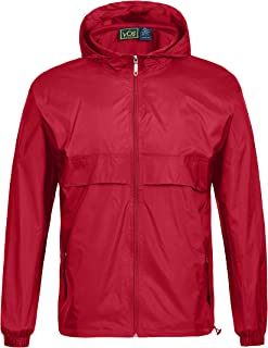 GEEK LIGHTING Men's Waterproof Hooded Rain Jacket, Lightweight Packable Raincoat for Outdoor, Camping, Travel