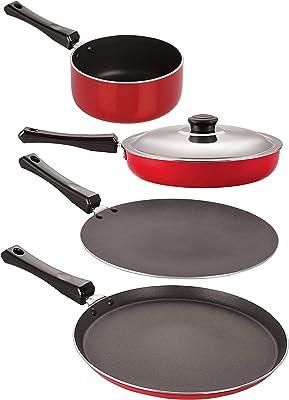 Nirlon Non-Stick 4 Piece Gas Compatible PFOA Free Kitchen Cookware, Red and Black