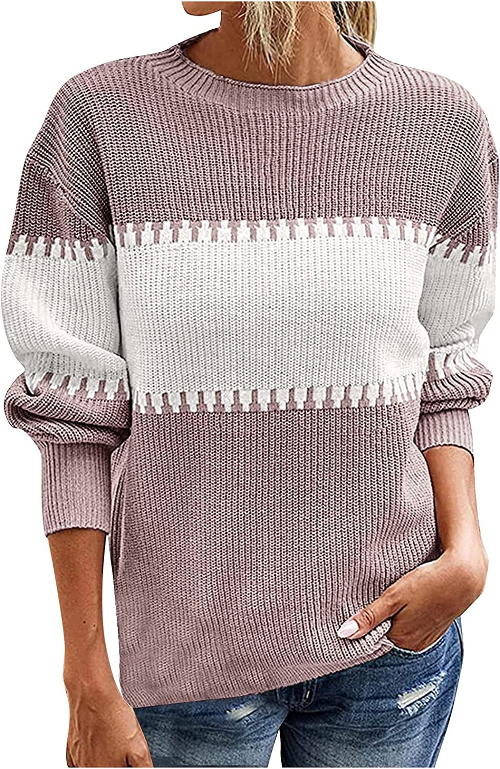Women's Casual Knitted Stitched Contrast Neck S 25% OFF High Sleeve Super sale period limited Long