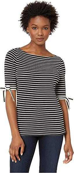 Petite Ribbon-Sleeve Striped Boat Neck Top