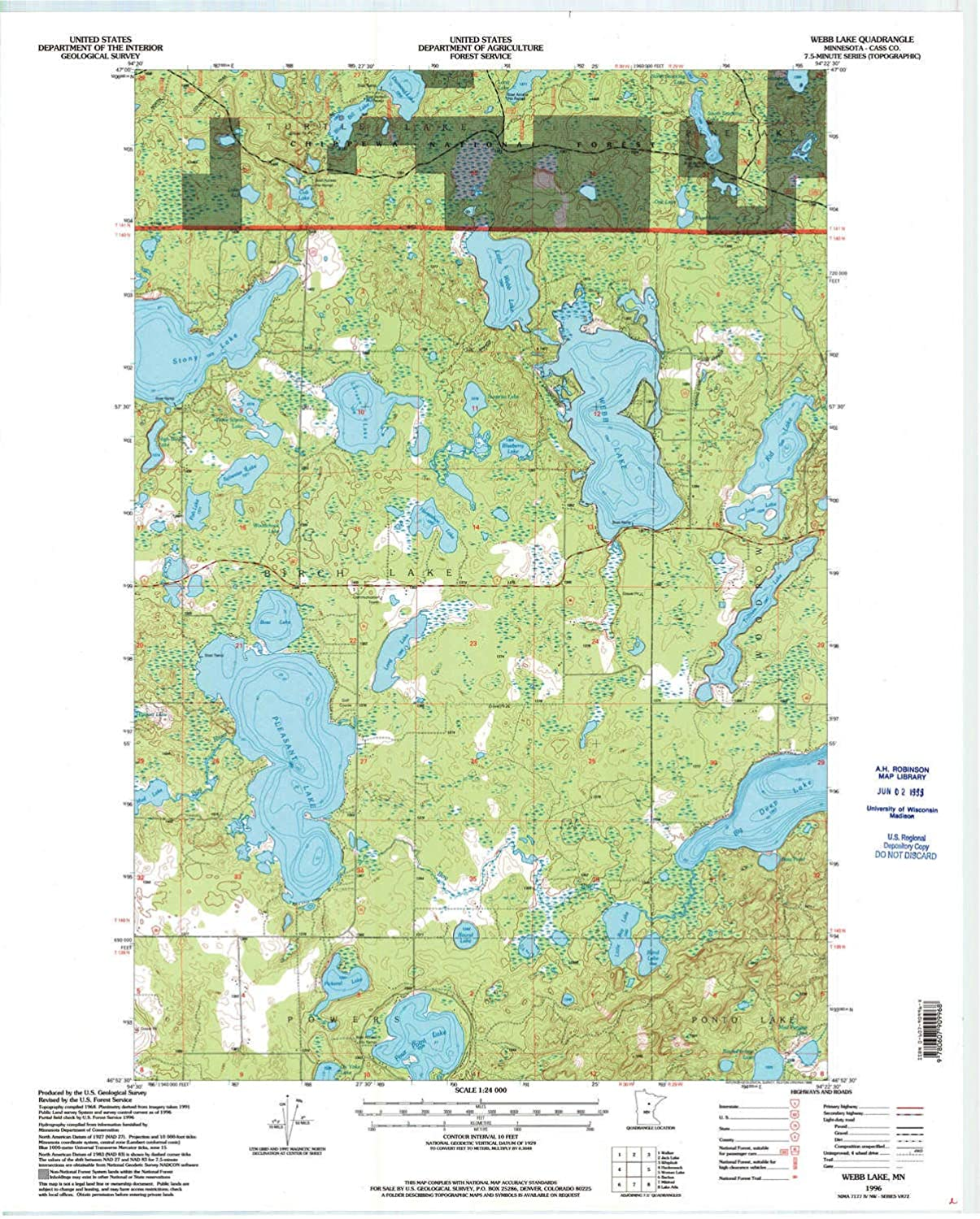 Webb Lake MN topo map, 1 24000 Scale, 7.5 X 7.5 Minute, Historical, 1996, Updated 1998, 27.23 x 21.53 in