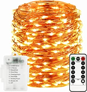 Sunfuny LED Fairy String Lights 66ft 200 Leds, Battery Operated Waterproof Copper Wire Starry Firefly Lights, Timer Dimmab...