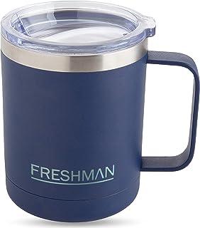 FRESHMAN aryo | Taza termica de doble pared de acero inoxidable 350ml | Vaso termico cafe con tapa y asa Vaso termo cafe para llevar Tazas desayuno Taza termo Termos para cafe Vaso cafe Vasos termicos