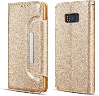 UEEBAI Case for Samsung Galaxy A5 2017,Luxury Bling Glitter Case with [Big Magnetic Buckle] [Card Slots] Stand Function PU Leather Flip Wallet Cover Case for Samsung Galaxy A5 2017 - Gold