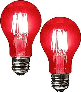 SleekLighting LED 6Watt Filament A19 Red Colored Light Bulbs Dimmable – UL Listed, E26 Base Lightbulb – Energy Saving - Lasts for 25000 Hours - Heavy Duty Glass - 2 Pack