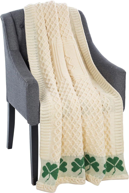 100% Merino Irish Wool Shamrock Honeycomb Bed & Couch Sofa Throw Blanket in Natural   40'' x 60'' 100 cm x150 cm