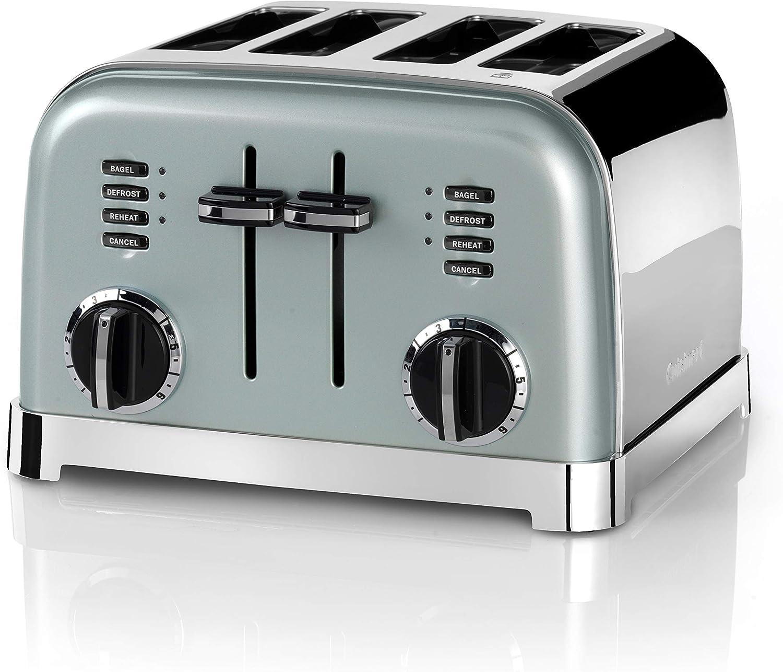 Cuisinart CPT180GE Tostadora de 4 Ranuras Anchas para Todo Tipo de Pan, 6 Niveles de Tostado, 1800W, Función Bagel, Descongelar y Recalentar, Rejilla de Centrado Automático, Palanca de Elevación