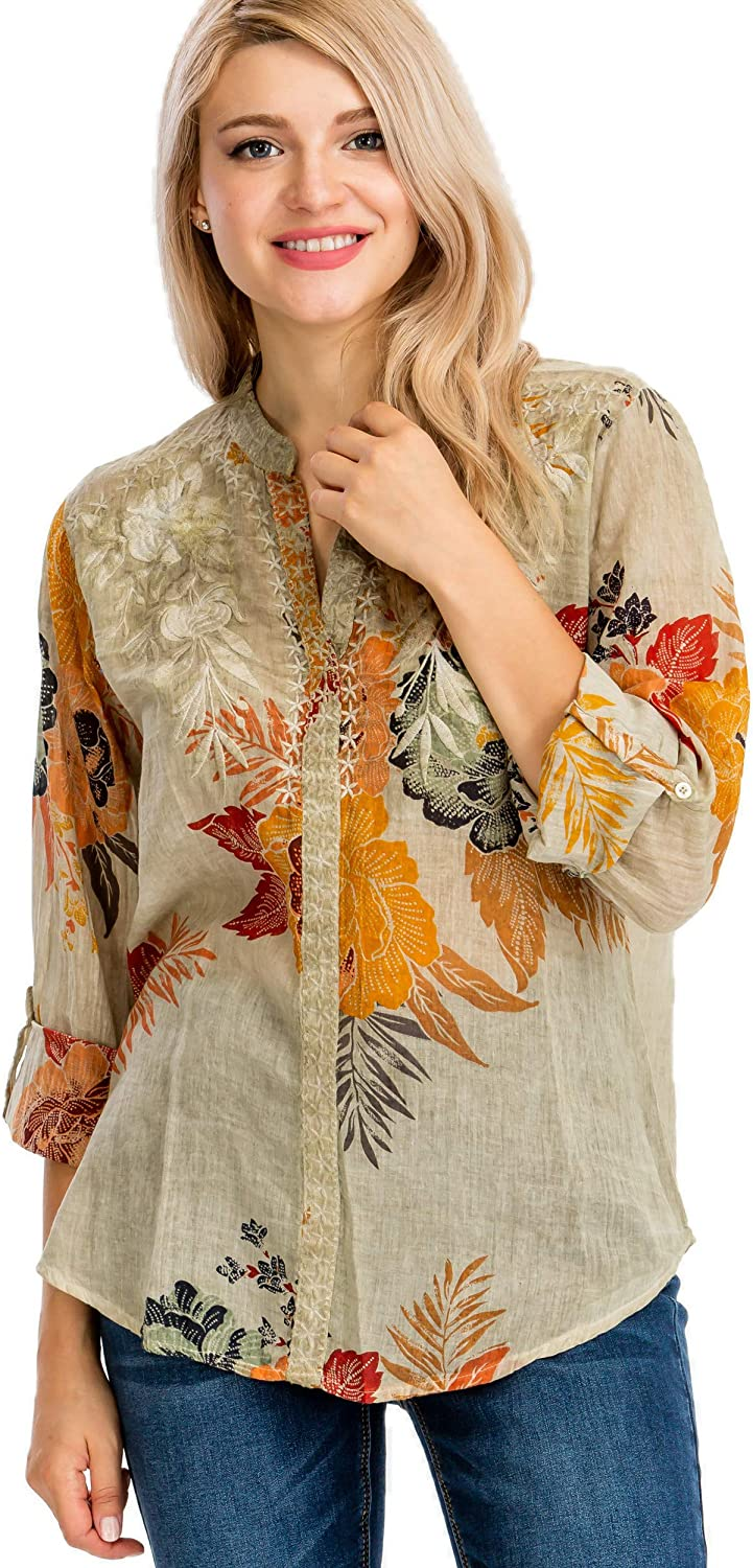 Floral Printed 国産品 Blouse with 安全 and Embroidery Wash Vintage