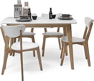 Homely - Conjunto de Comedor de diseño nórdico MELAKA Mesa Extensible de 120/160x80 cm Blanca y 4 sillas Blancas