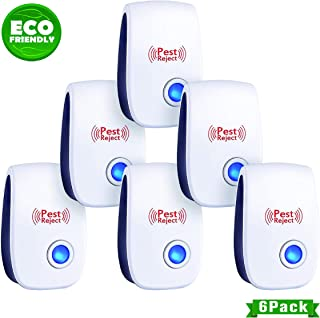 WJ Zone 2019 New Ultrasonic Pest Repeller, ECO-Friendly Electronic Pest Control Plug in, Pack of 6 Portable Indoor Pest Defender, Pest Reject for Mosquito, Rodent,Anti, Cockroach, Mosquito, Bug