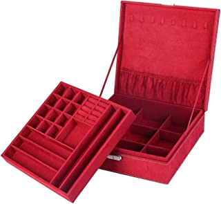 KLOUD City Two-Layer lint Jewelry Box Organizer Display Storage case with Lock (Dark Red)