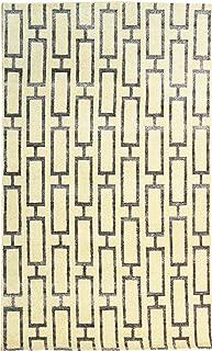 Landry & Arcari Elysia Collection J37988 Hand-Woven Ivory & Silver Modern Geometric Pattern Wool Area Rug 5 feet by 8 Feet (5x8)