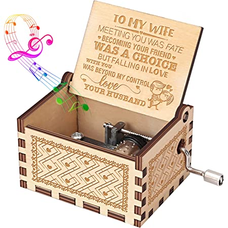 Cottage Garden To My Wife Love Eternal Woodgrain Rope Trim Jewelry Music Box Plays Unchained Melody Home Kitchen