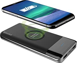 Aduro 10,000mAh Wireless Power Bank, Dual USB Backup Battery Travel Wireless Charger Compatible with iPhone Samsung and Qi Devices