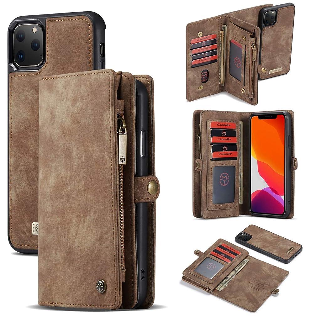 ボイコット咽頭セッションiPhone 11 Proウォレットケース、TABCaseハイグレードジッパーウォレットレザー着脱式磁気電話ケース、クレジットカードスロット、携帯電話ホルダーカバー専用 iPhone 11 Pro 5.8'',ライトブラウン