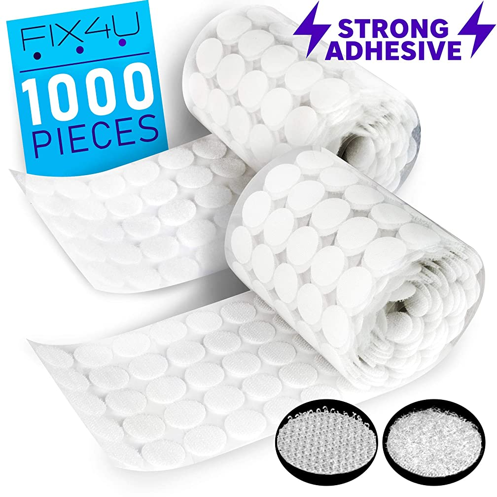 Hook and Loop Dots Strips with Adhesive – 1000 PCs (500 Pairs) White Tiny Hook Loop Roll Coins – ? Inch (20 mm) Heavy Duty Sticky Back Coins – 3m Hook Tape Circles for Crafts, Classroom, Office, Home