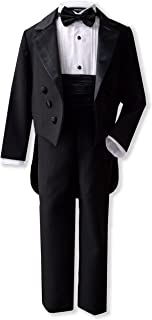 Gino Giovanni Boy's Black Formal Tuxedo Suit Set with Tail