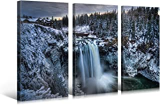 Large Canvas Print Wall Art – SNOQUALMIE FALLS – 48x30 in (3 pcs) Nature Landscape Canvas Picture Stretched On A Wooden Frame – Giclee Canvas Printing – Hanging Wall Deco Picture / e3739