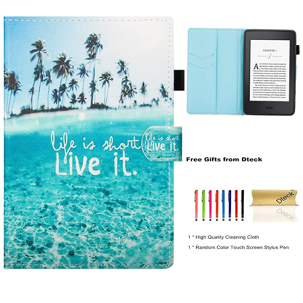 Dteck Case for All-New Kindle Paperwhite - Pretty Folio Slim Smart Case PU Leather Wallet Protective Cover with Auto Sleep Wake for Amazon Kindle Paperwhite 10th Generation 2018 6 Inch-Charming Beach