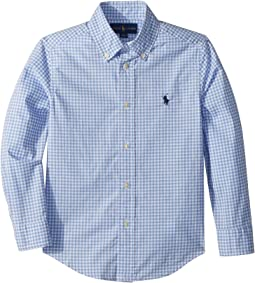 Gingham Stretch Cotton Shirt (Little Kids/Big Kids)