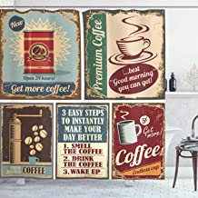 Ambesonne 1950s Decor Collection, Coffee Posters and Metal Signs Artistic Design Bean Cup Tin Espresso Mug Cappuccino Logo, Polyester Fabric Bathroom Shower Curtain, 75 Inches Long, Ivory Red