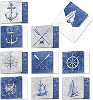 Nautical World - 10 Classic Thank You Cards with Envelopes (4 x 5.12 Inch) - Appreciation Note Card Set with Sail Boat, Anchor, Oars - Sailing Notecards, Gratitude Greeting Note Card AMQ6671TYG-B1x10