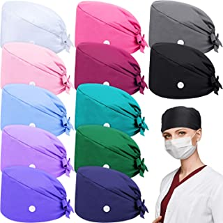 Syhood 12 Pieces Working Caps Gourd-Shaped Tie Back Hats Button Hats Unisex Cotton Hats with Sweatband, 12 Colors