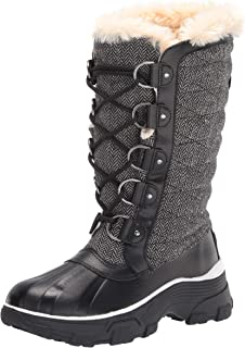JBU by Jambu Women's Lorina Waterproof Winter Boot, Black Herringbone, 6