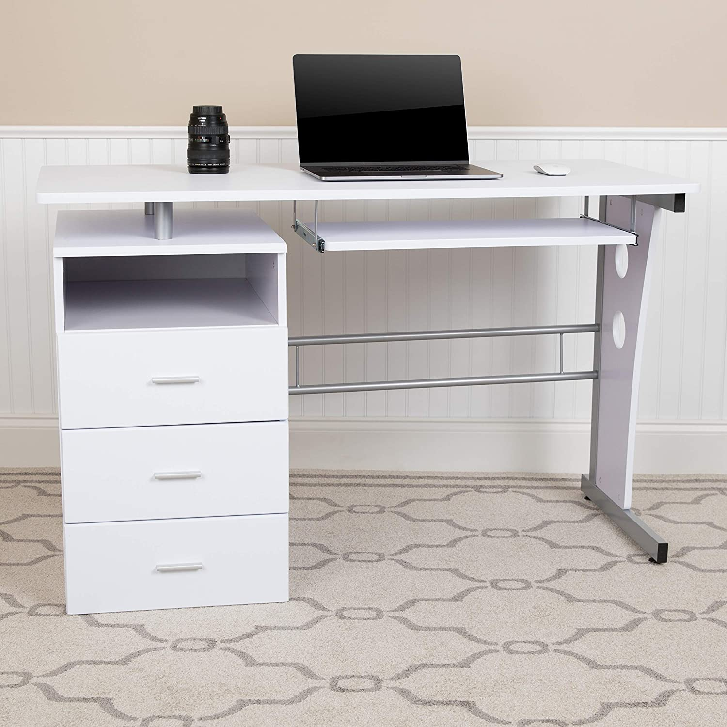 EMMA + OLIVER Max Cheap mail order shopping 81% OFF White Desk with Pedestal Three Drawer P and Single