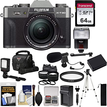 $1349 Get Fujifilm X-T30 Wi-Fi Digital Camera & 18-55mm XF Lens (Charcoal) + 64GB Card + Battery + Charger + Mic + LED Light + Tripod + Flash + Case + 2 Lens Kit