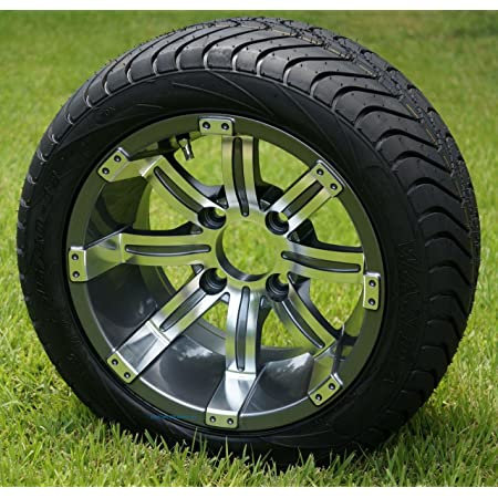 """12"""" TEMPEST GUNMETAL WHEELS AND 215/40-12 LOW PROFILE DOT TIRES COMBO - SET OF 4"""