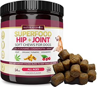 Natural Genius Hemp Hip & Joint Supplement for Dogs | 180 Soft Chews Treats - Glucosamine, Chondroitin, MSM, Turmeric, Hemp & Konaberry | Arthritis Support & Pain Relief for Senior Dogs - All Breeds