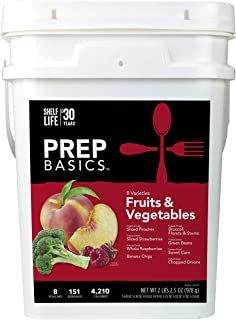 Prep Basics Fruits & Vegetables Variety | Emergency Food Supply |Freeze-Dried and Dehydrated | 4,210 Total Calories | 63 T...