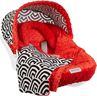 Carseat Canopy 5 Pc Whole Caboodle (Soloman) Baby Infant Car Seat Cover Kit with Minky Fabric