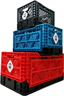 BIGANT Collapsible Heavy Duty Milk Crate Bundle Kit with 1x Large Red, 1x Medium Blue and 1x Small Charcoal Grey Plastic Crate, for Evaluation of Sizes and Colors