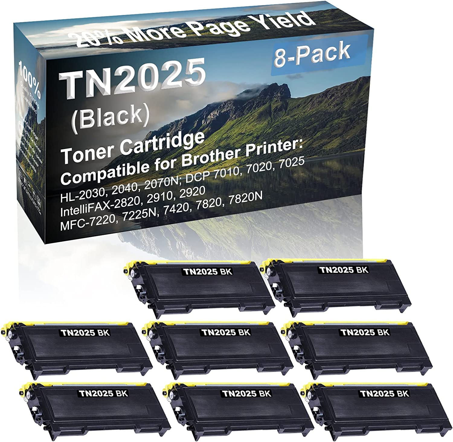 8-Pack Compatible High Yield IntelliFAX-2820, 2910, 2920 Printer Cartridge Replacement for Brother TN2025 Toner Cartridge (Black)