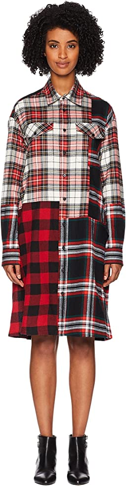Patched Tartan Shoulder Dress